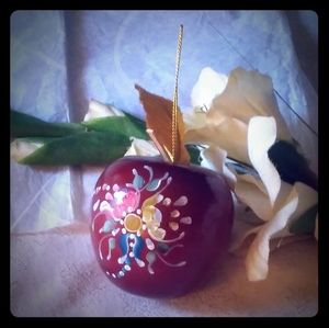 Vintage Hand Painted Wooden Apple Ornament